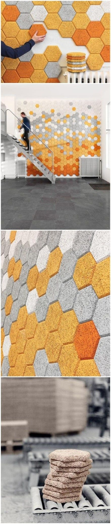 """What can we do with a wall? Swedish Form Us With Love brings us a brand new choice. Hexagon is special """"tile"""" made of woodwool cement which is environmentally friendly, water resistant, moisture and sound absorbent. These would make a great sound blocking wall treatment for a Lego room!"""