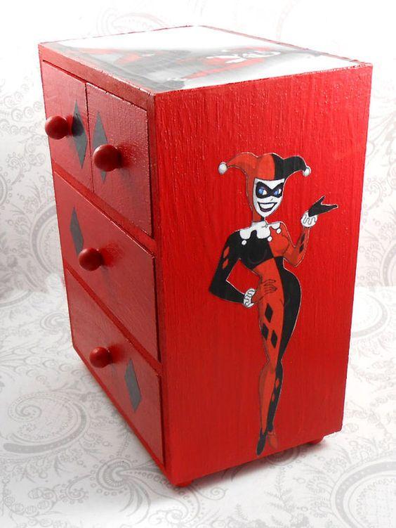 Custom Harley Quinn Red and Black Stash Jewelry Box   Harley quinn. Harley Quinn Bedroom Decor  Harley  Scott Design   House Plans