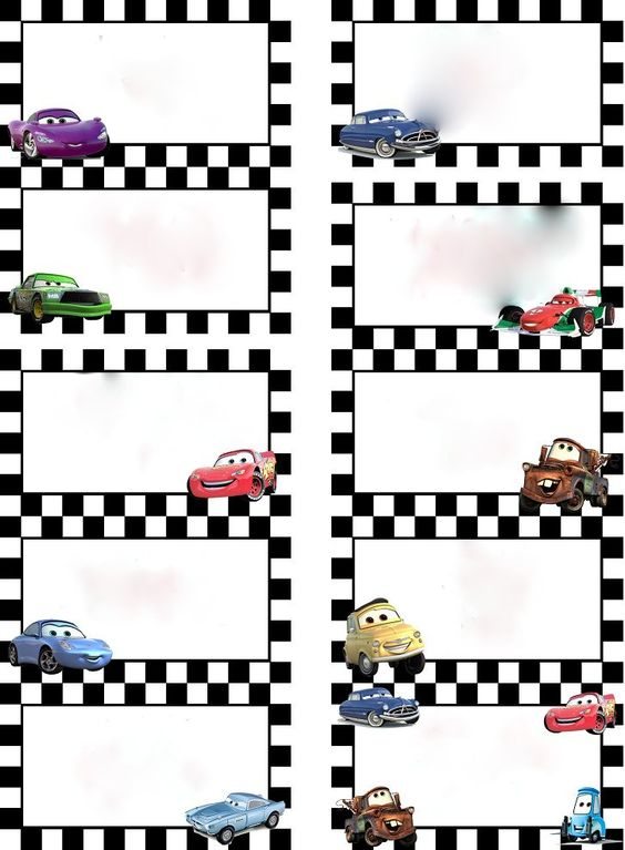 Disney Cars Food Labels Free Printable