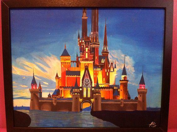 Disney castle: acrylic canvas painting I did! # ...