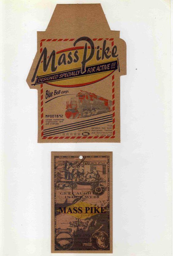 Etiqueta en cartulina misionera a colores para tags prendas Jeans Mass Pike