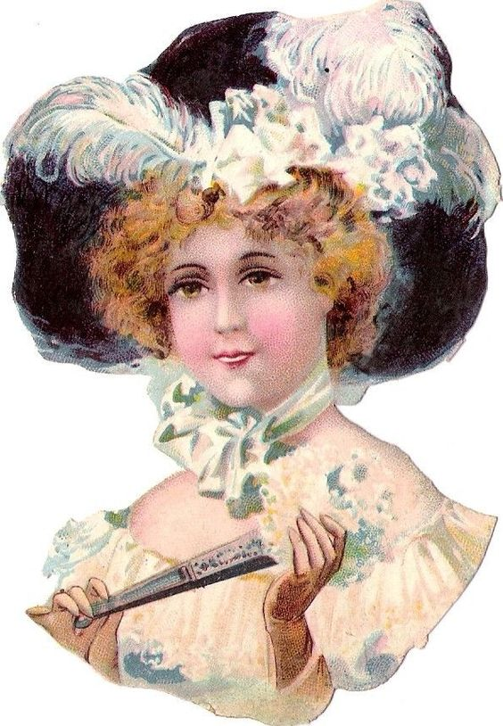 Oblaten Glanzbild scrap die cut chromo Dame lady Kopf Feder Hut Fächer fan: