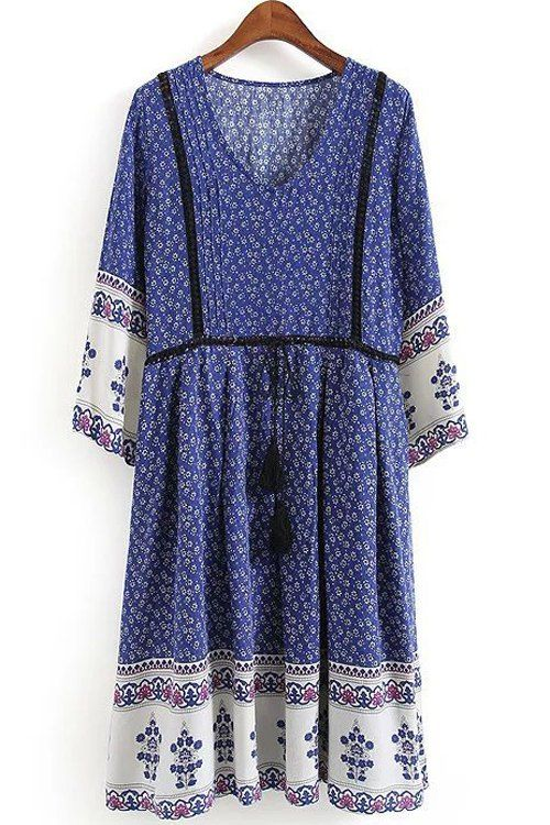 3/4 Sleeve Tiny Floral Tunic Dress