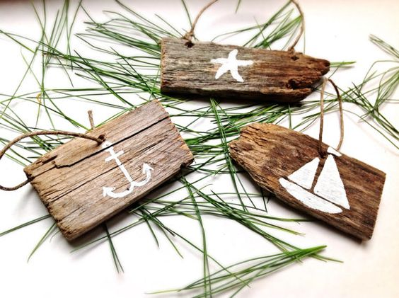 Set of 3Nautical Christmas OrnamentsBeach by OceanStateofMindRI, $12.95