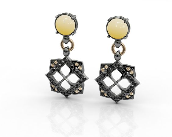 Earring Sterling Silver 925, Pink Gold 18K, Yellow Aventurine, Black Spinel, CZ Champagne Price : $551.36 #bohemmeJewelry #earrings