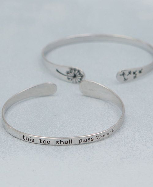This Too Shall P Sterling Silver Mantra Bracelet