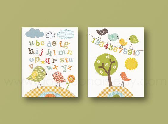 Lot de 2 illustrations pour chambre d 39 enfant et bebe - Illustration chambre bebe ...