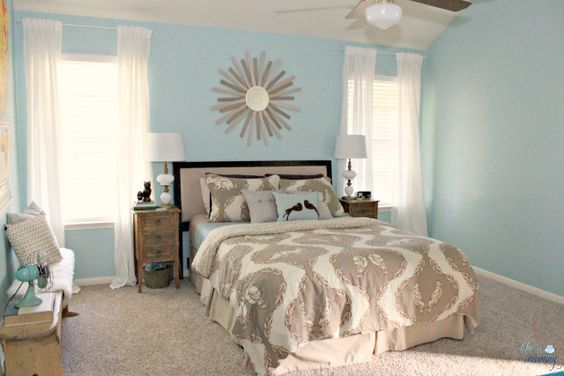 Peaceful blue master bedroom wall colour lafonda mirage for Peaceful master bedroom designs