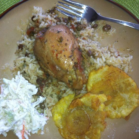 stewed chicken fried plantain cole slaw coconut milk rice milk coconut ...