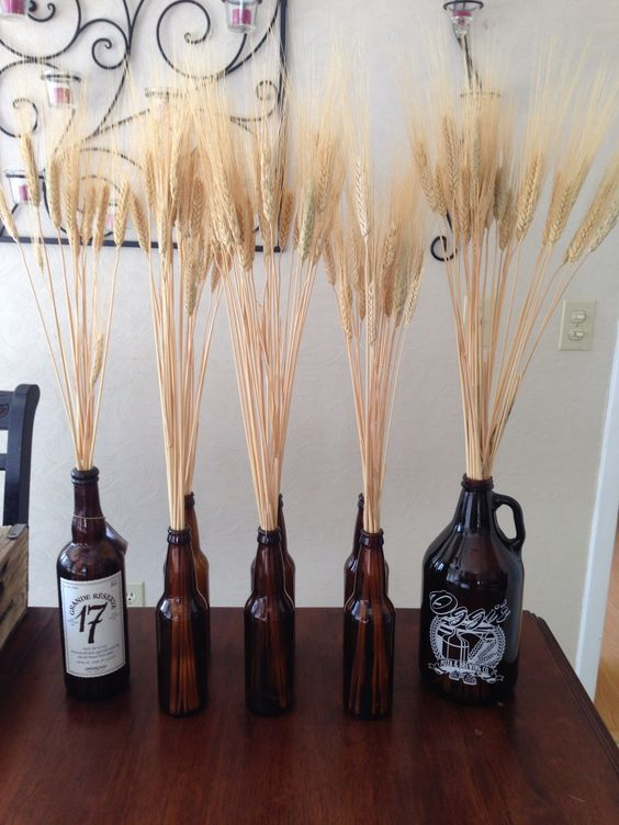 Beer birthday party dried wheat in empty bottles josh for Beer bottle decoration ideas