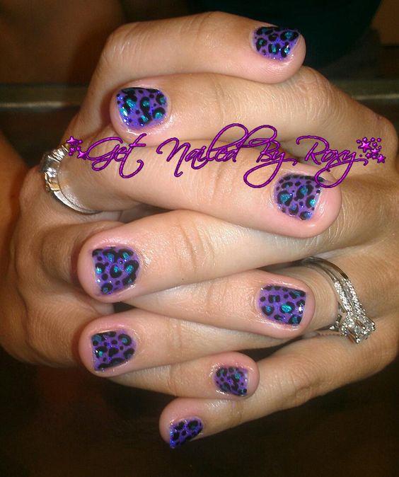purple teal cheetah nails  www.GetNailedByRoxy.com