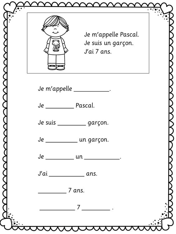 Je me presente. Easy worksheets for young and beginning learners ...