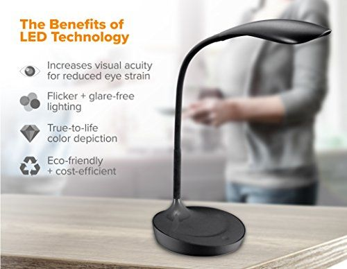 Brighten Your Mood And Office With This Connector Gooseneck Led Desk Lamp It Operates Off Of Touch Sensitiv Black Desk Lamps Led Desk Lamp Desk Lamp