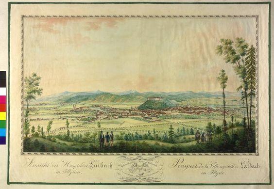 Titel Laibach Beschreibung Ansicht. Aquarell von Alois Schaffenrath. Autor Schaffenrath, Alois Schaffenrath, Alois Technik Aquarell Datierung 1821