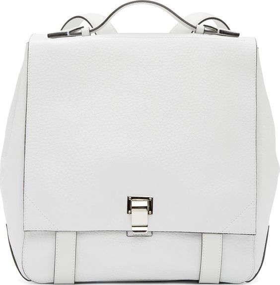 Proenza Schouler White Grained Leather Medium Courrier Backpack
