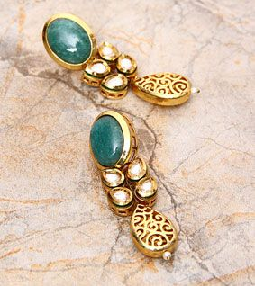 Golden And Green Embellished Earrings