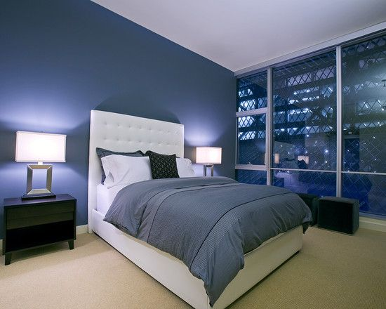 Cool Contemporary Blue Bedroom Decorating Ideas With White Modern King Size  Bed And Cadet Blue Quilt