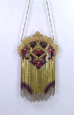 Antique 1920s Mandalian Art Nouveau Flapper Fringe Enamel Mesh Bag Fancy Frame