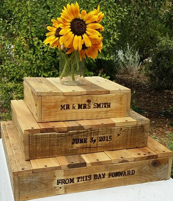 These rustic wood burned cake stands used individually are the perfect addition for your special day and also make a beautiful addition to a