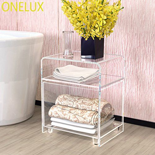 Amazon Com Onelux Clear Acrylic Nightstand With A Storage Basket