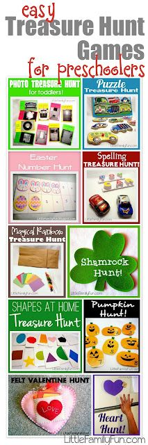 Ideas for more than 10 fun treasure hunt games for toddlers & preschoolers