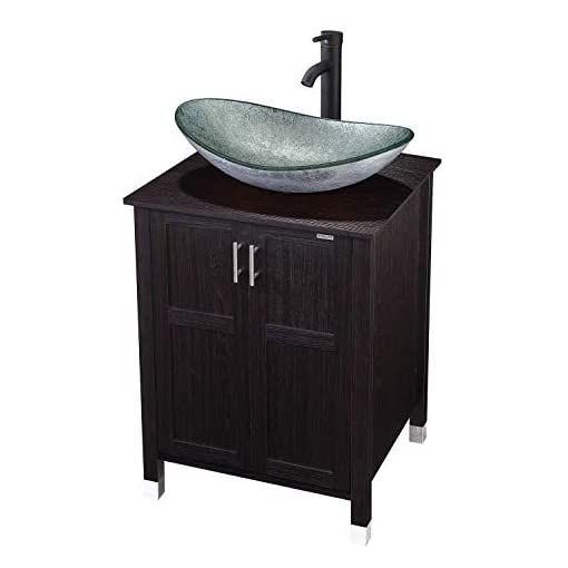 Modern Bathroom Vanity And Sink Combo Stand Cabinet With Vanity Mirror Single Mdf Cabinet With Blue Glass Vessel Sink Round Bowl In 2020 Vessel Sink Bathroom Vanity Bathroom Vanity Modern Bathroom Vanity