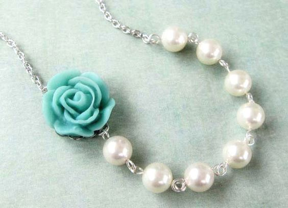 Tiffany blue rose with Swarovski pearls neckace. Tiffany blue wedding. Bridesmaid gift. Bridal shower.. $42.00, via Etsy.