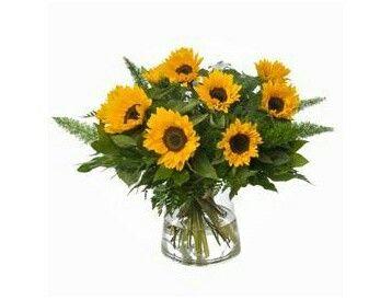 Zonnebloem  Mooi boeket van vrolijke zonnebloemen.verkrijgbaar bij www.bloemenweelde-amsterdam.nl