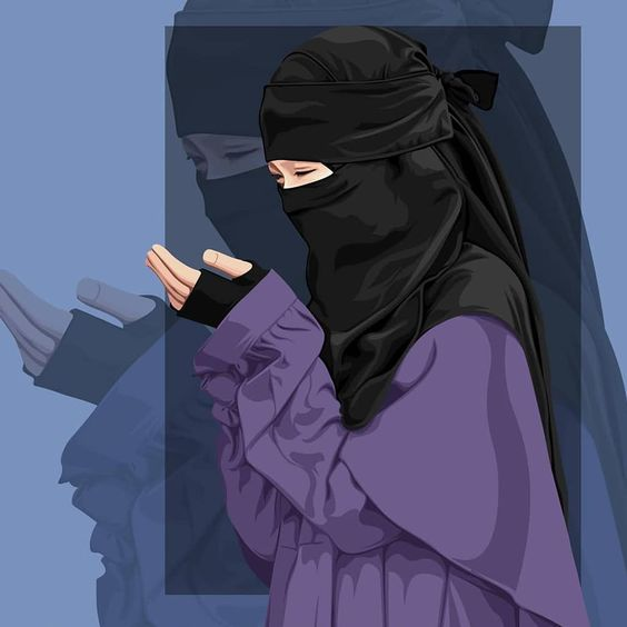 gambar kartun couple muslimah imut cantik