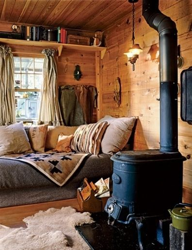 nothing more comfy than reading a book close to a warm wood stove...