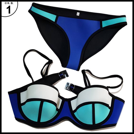 TDOLAH Neoprene Sexy Damen Sport bunt Bikini-Set Push up Basketball mit Trägern