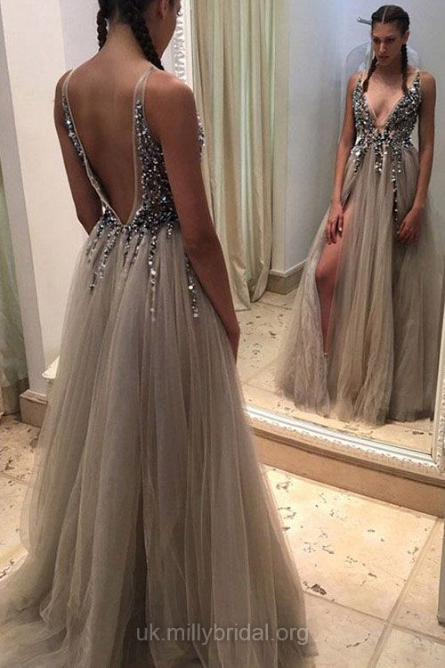 Resultado de imagen para Exclusive Princess V-neck Tulle with Beading Floor-length Backless Prom Dresses