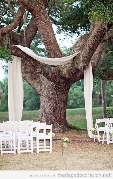 Idée autel simple, mariage au jardin ou photobooth sous le tilleul