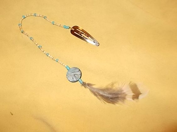 Native American design  Feather hair clips by SkyFeathersTrading, $15.95