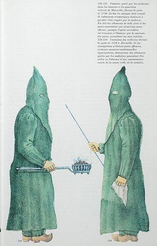Histoire de la médecine: costumes de médecins durant la peste de 1819 à Marseille