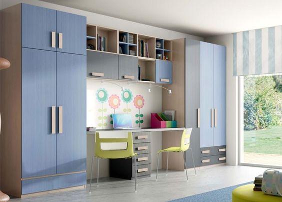 Dormitorio juvenil con litera doble vertical abatible for Mueble litera abatible vertical