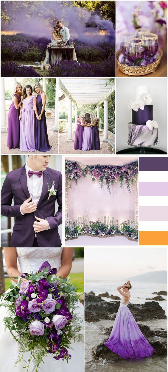 2019 Brides Favorite Purple Wedding Colors Purple Blush And Gold