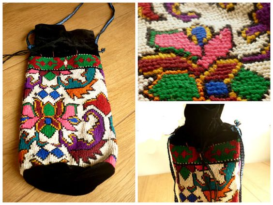 Embroidered Pouch Bag Embroidered Ethnic Bag by GrandmasDowry
