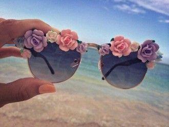 sunglasses floral sunglasses black glasses plastic flowers 3d
