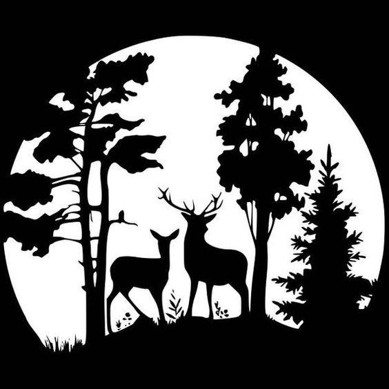 Cerf Moonrise vinyle autocollant. Livraison gratuite sur les commandes contenant 5 articles ou plus *** coupe de vinyle extérieur, autocollant de haute qualité. Peut être appliqué à n'importe quelle surface plane et propre tels que murs, gobelets, bouteilles d'eau, vitres, ordinateurs