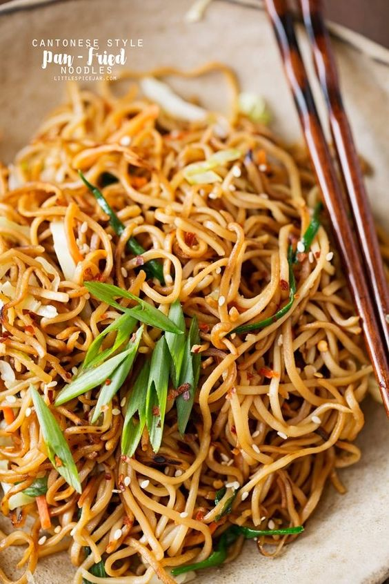 Cantonese-Style-Pan-Fried-Noodles-Cantonese-Style Pan-Fried Noodles - smokey noodles just like your favorite restaurants and it's a quick 30 minutes to make! That's faster than takeout! #cantonesenoodles #panfriednoodles #chowmein | Littlespicejar.com
