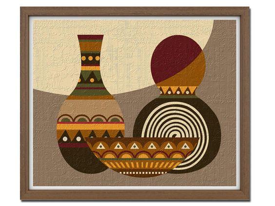 Pop art africain motif abstrait design motif ethnique for Motif peinture