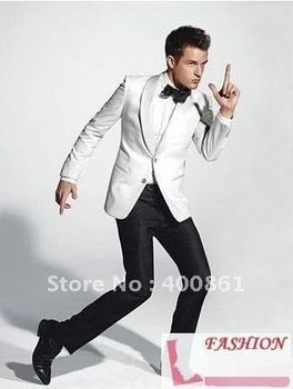 New Super White Jacket/Black Pants Men's Suits Groom Wedding Groom