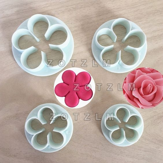 3PCS Peony Flowers Cookie Cutter Stainless Pastry Biscuit Baking Cutting Molds