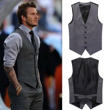New Men's Slim Fit Casual Formal Dress Vest Suits Tops Gray Grey M ...