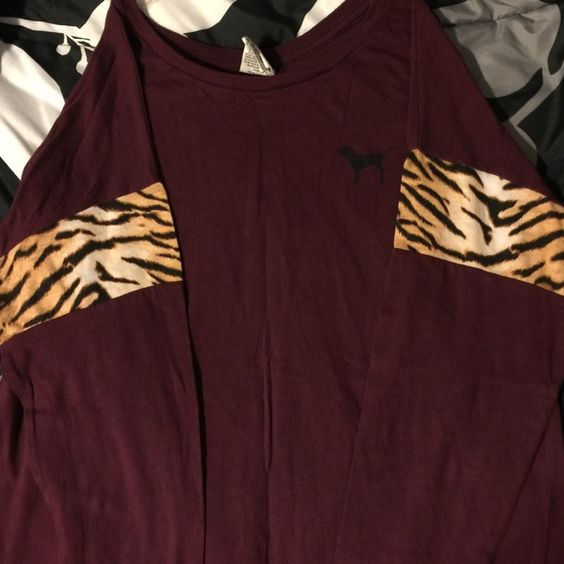 Pink shirt Like I said I love burgundy ! Lol but I don't have very many tiger print clothes so it's time to get ride of this :/ not worn more than 5 times since I have so many burgundy clothes :/ PINK Victoria's Secret Tops Tees - Short Sleeve