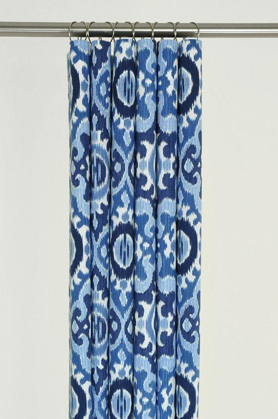 Navy Blue Ikat Shower Curtain 72 x 72 MEDITERRANEAN by PondLilly ...