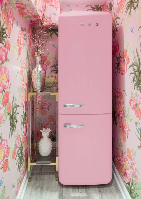 Crowns By Christy NYC Office SMEG Pink Refrigerator