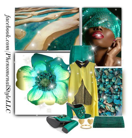 """Aqua Sun"" by konata-phenomenalstyle ❤ liked on Polyvore featuring Antonio Berardi and Gucci"