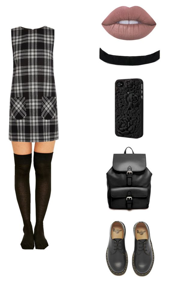Punk dress by tb-mcr on Polyvore featuring moda, Karl Lagerfeld, Dr. Martens and ASOS